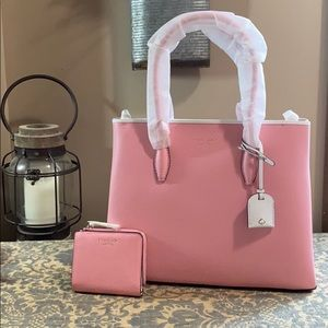 Kate Spade Eva top zip satchel & wallet carnation